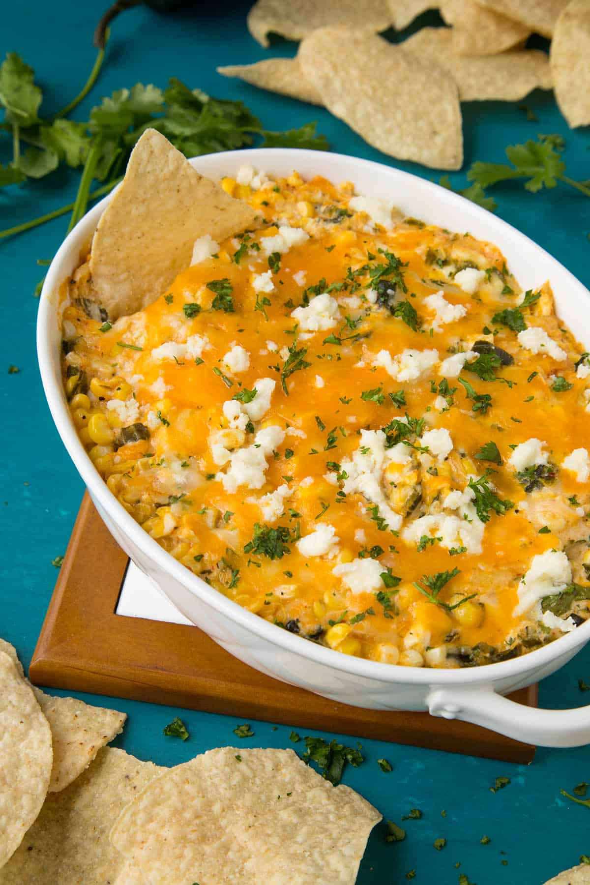 Cheese Dip with Corn and Roasted Poblanos