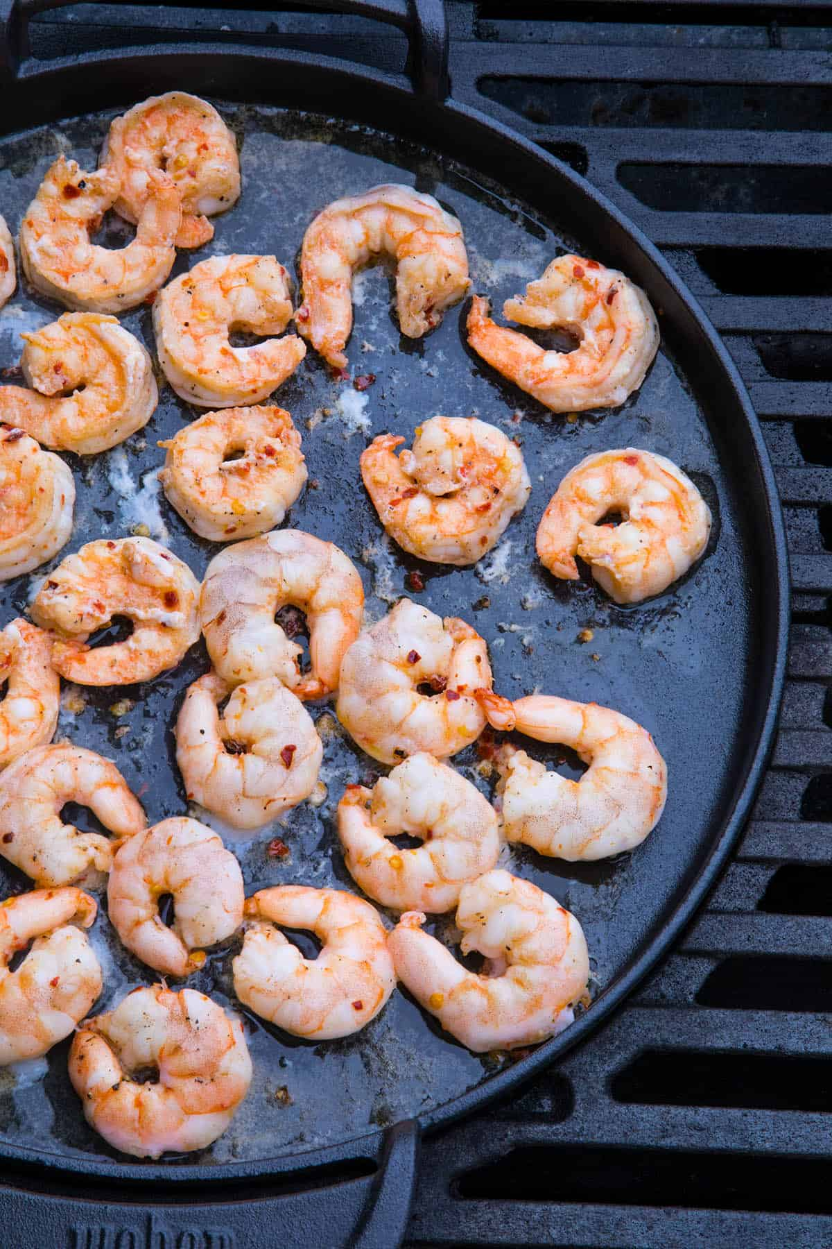 Grilling the shrimp