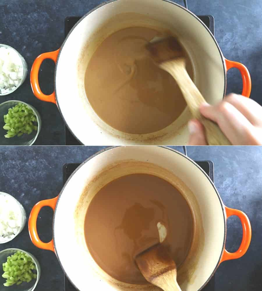 Making Roux - the color darkens the longer you cook and stir. Be sure to stir continuously.