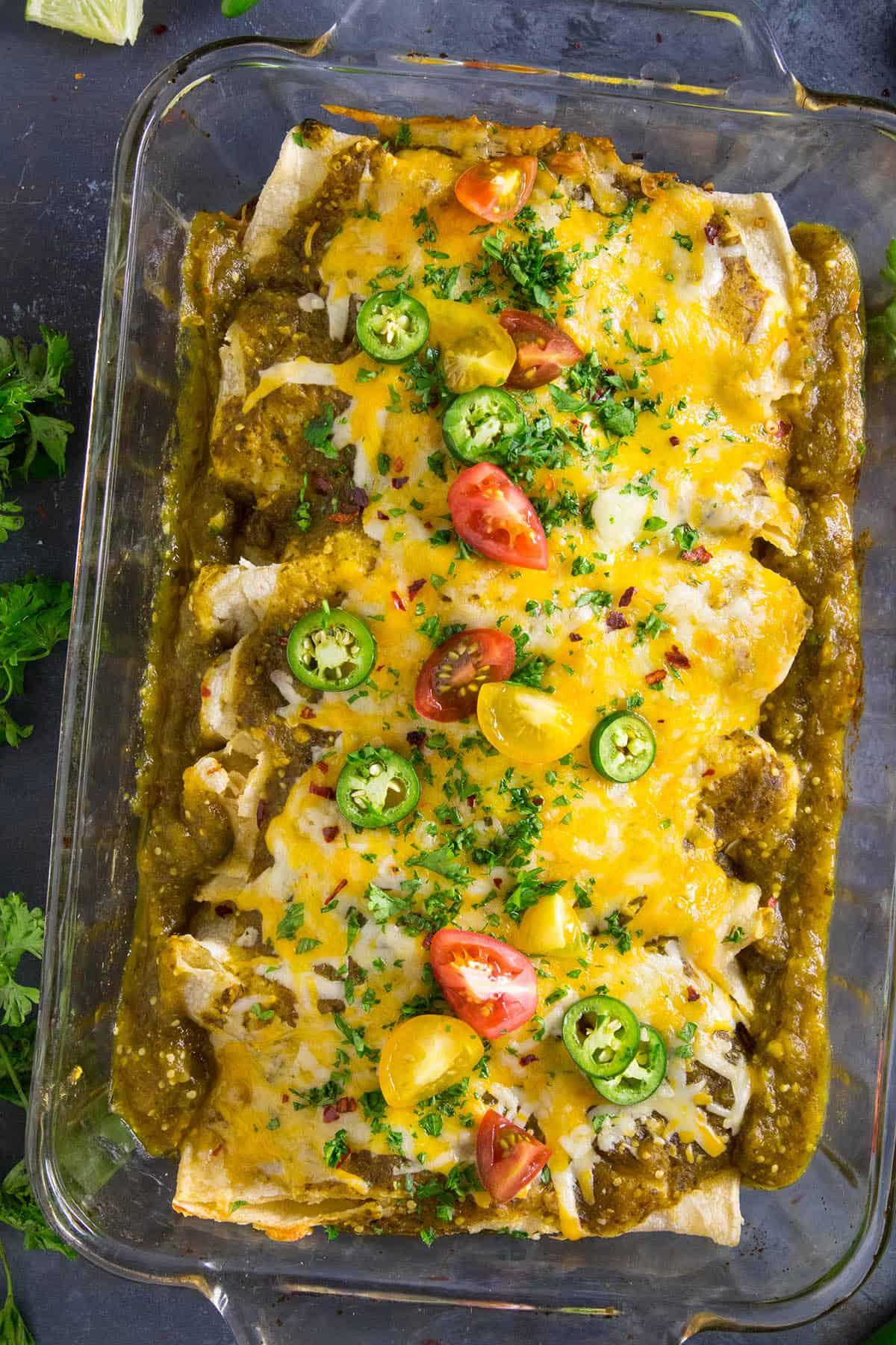 Chicken Enchiladas Verde with Cheese