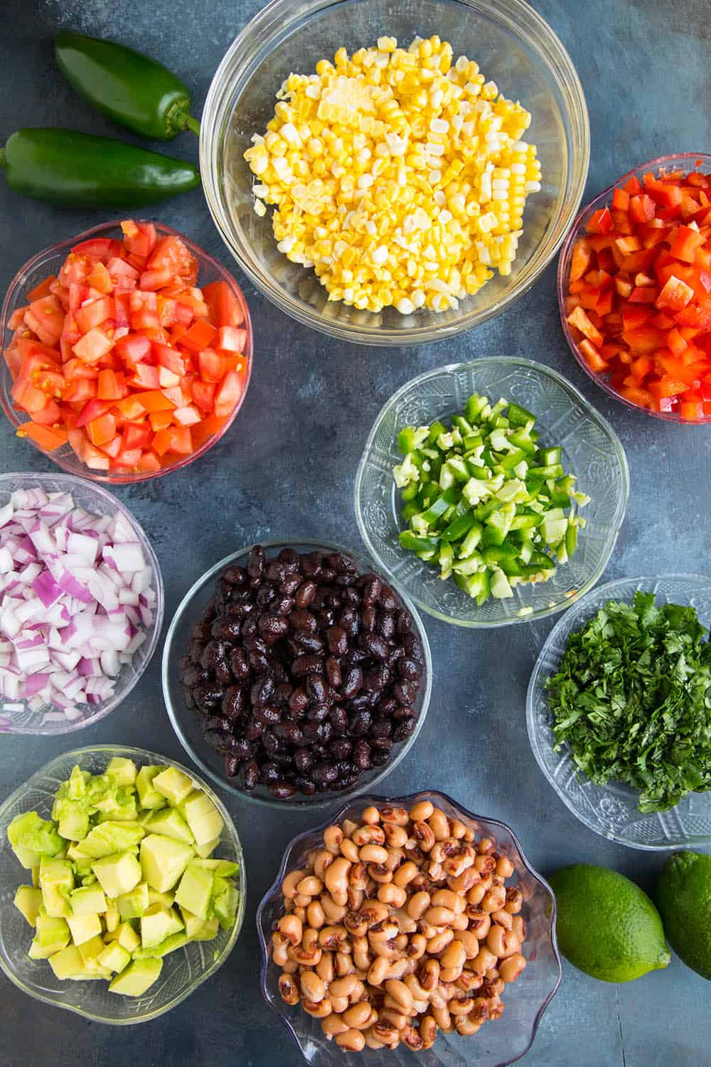 Ingredients for making Cowboy Caviar
