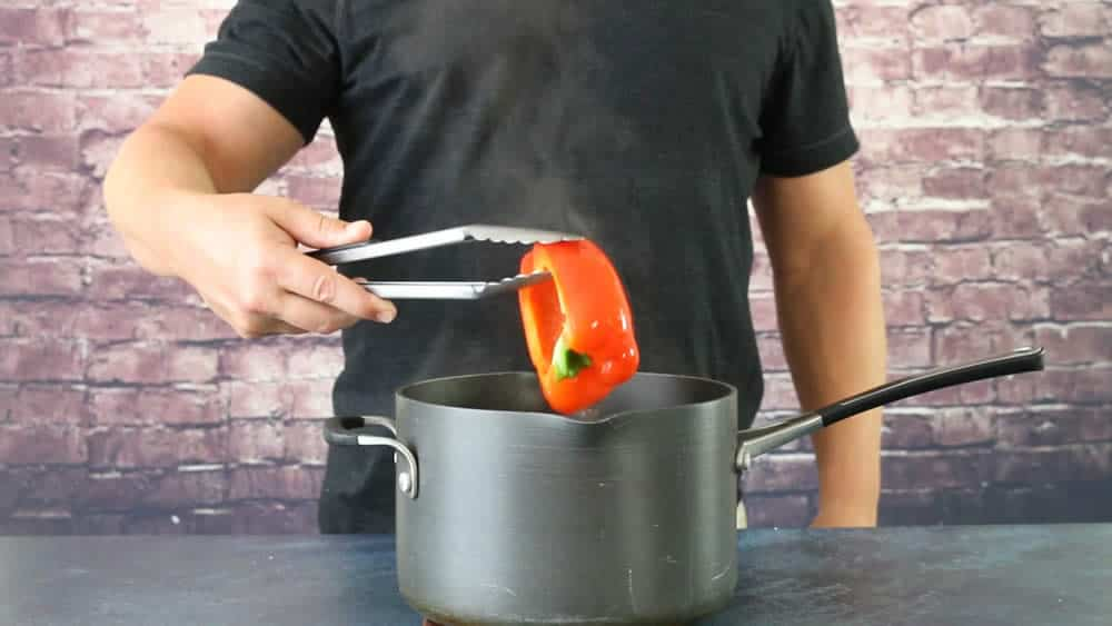 Blanching our Chili Peppers