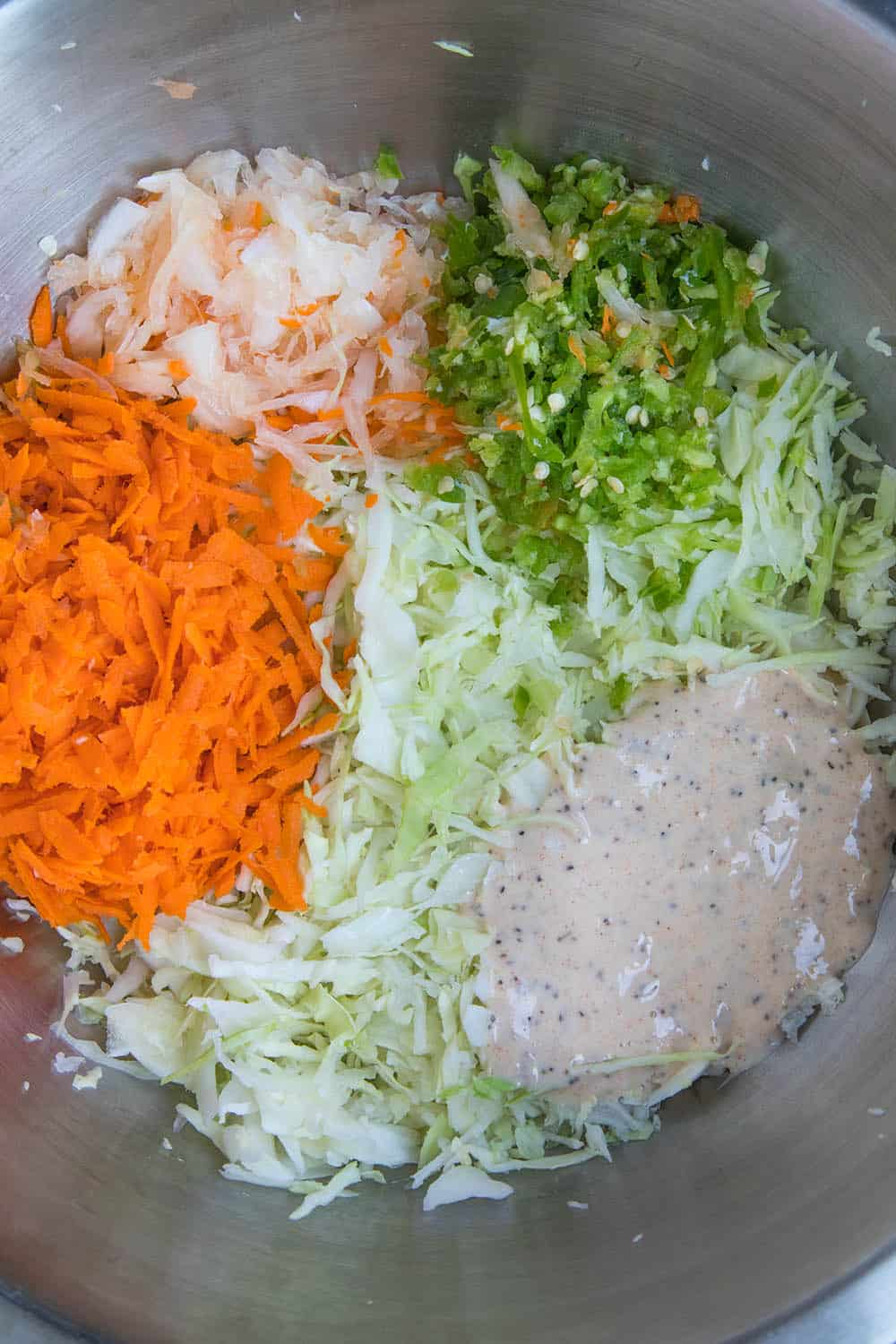 The start of our spicy, creamy coleslaw