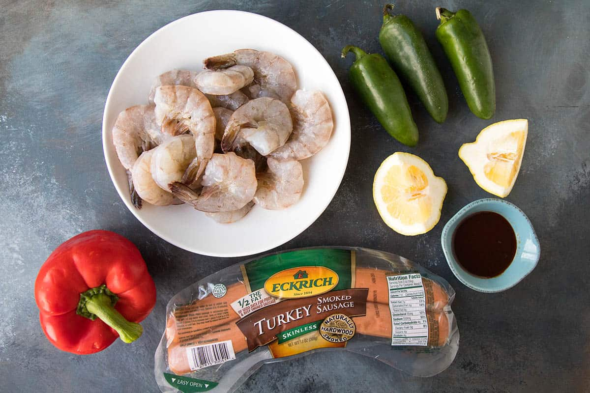 Ingredients for our 10-Minute Shrimp and Sausage Skewers