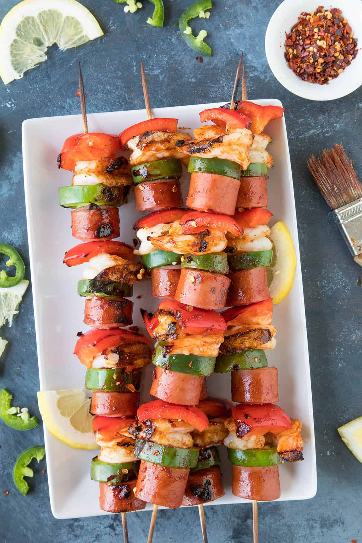 10 Minute Shrimp and Sausage Skewers - Freshly Grilled