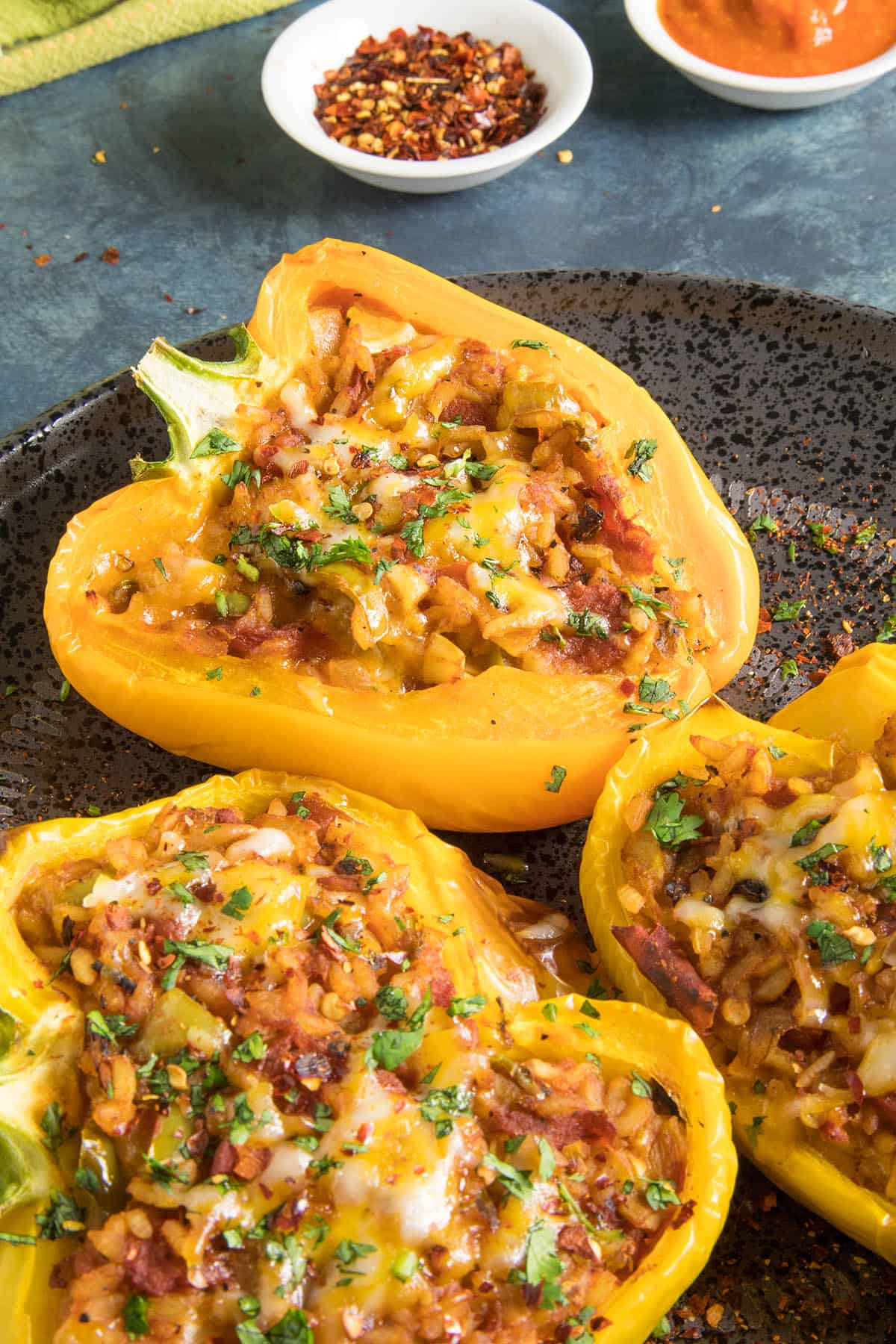 Delicious Spicy Vegetarian Stuffed Peppers, ready for you to dig in.