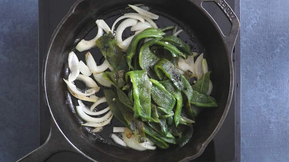 Add the rajas to the pan