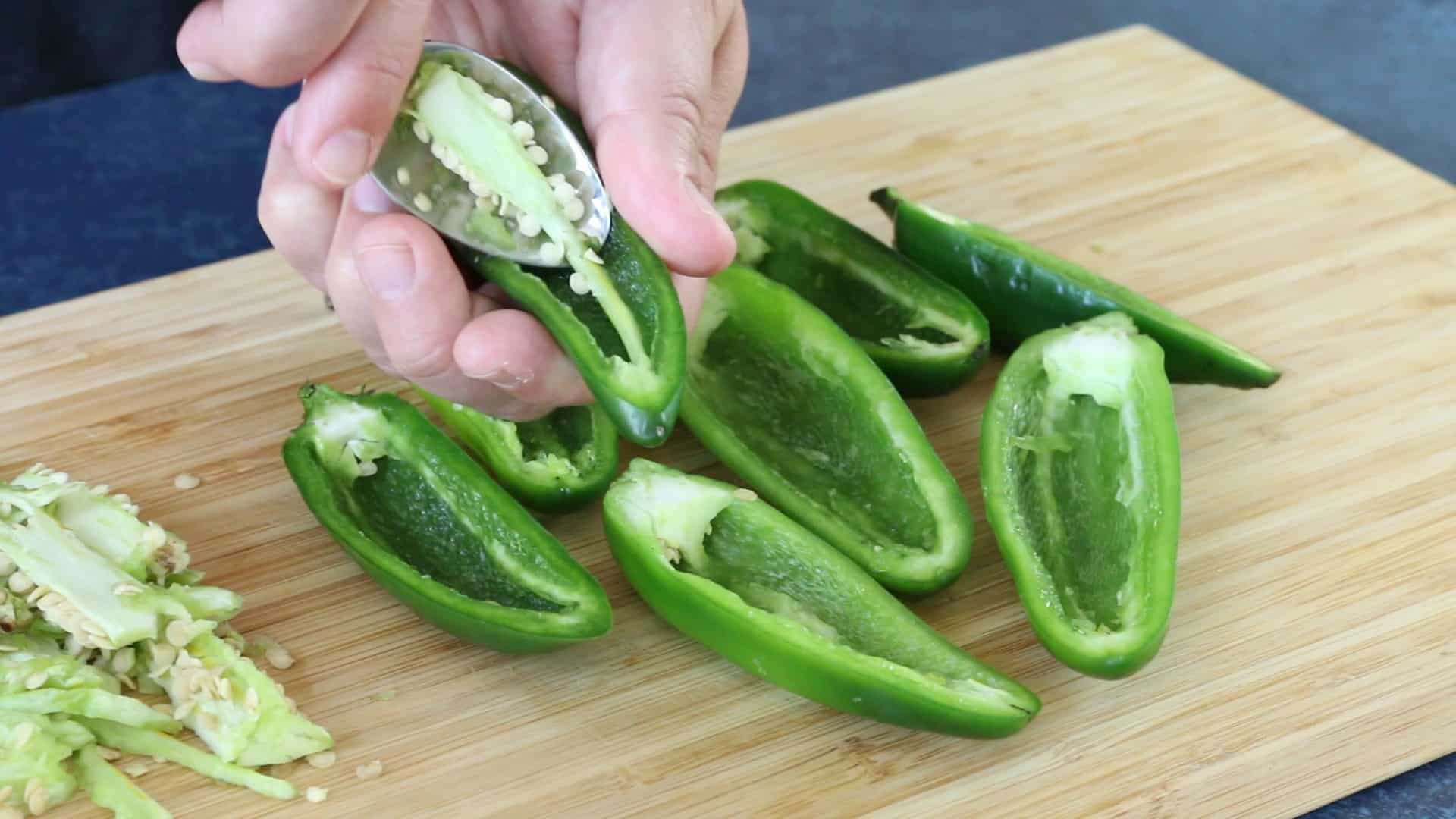 Coring Jalapeno Peppers for our Cream Cheese Jalapeno Poppers