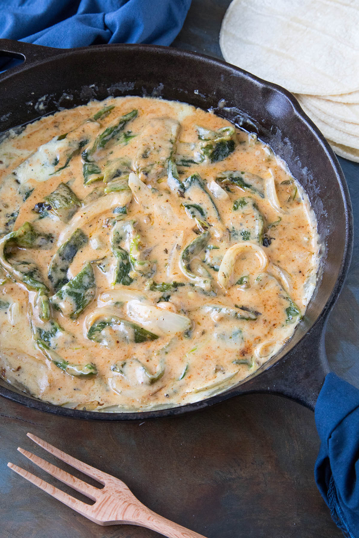Rajas Poblanas (Roasted Poblano Strips in Cream Sauce)