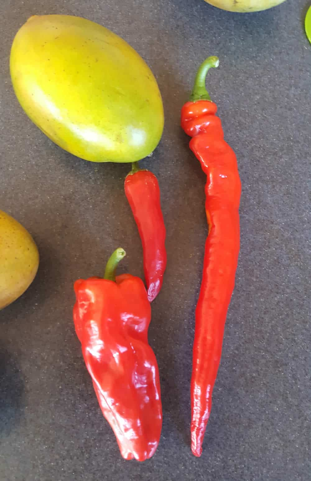 Peppers for our spicy mango chutney