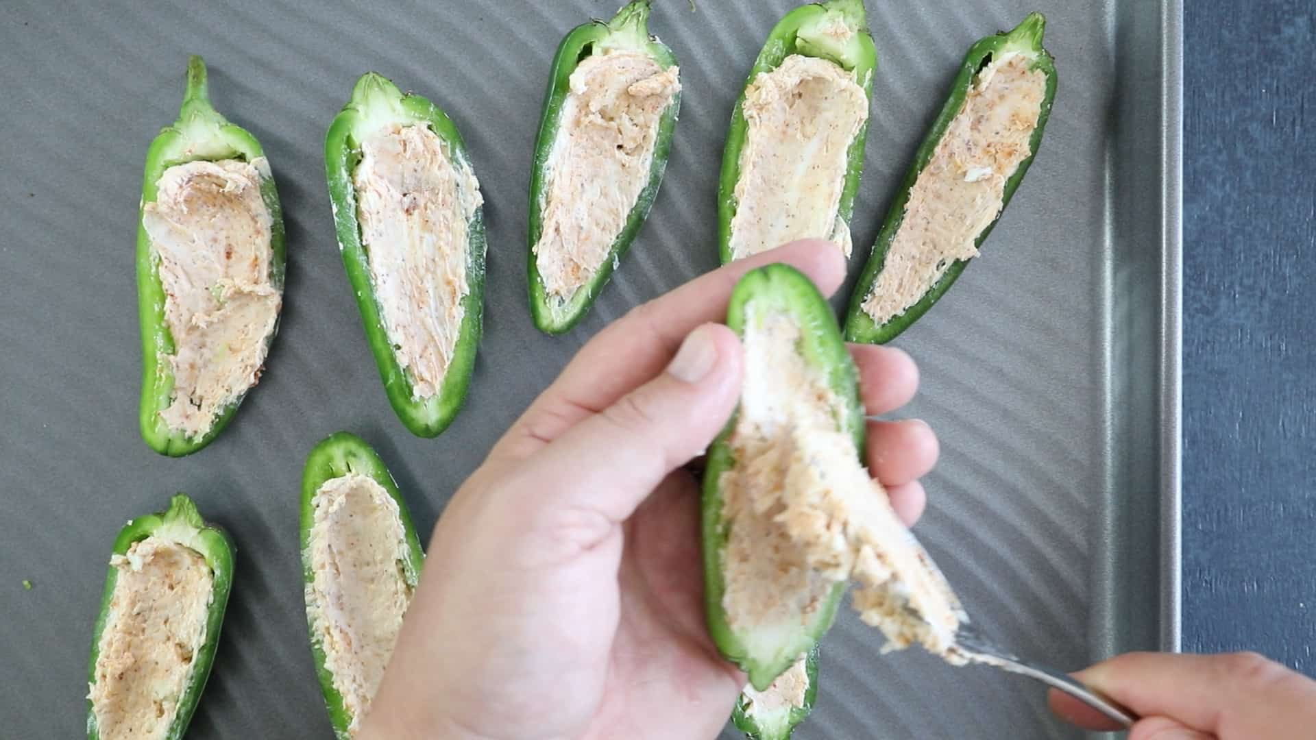 Stuffing the Jalapeno Peppers