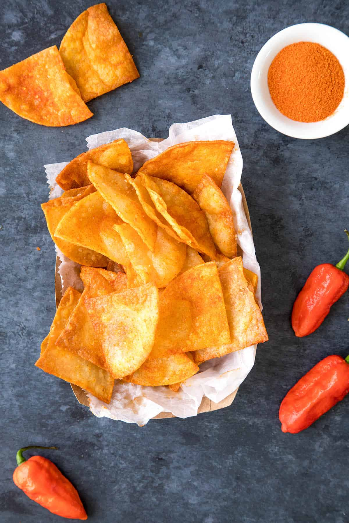 Ghost Pepper Chips - In a bowl, ready to enjoy