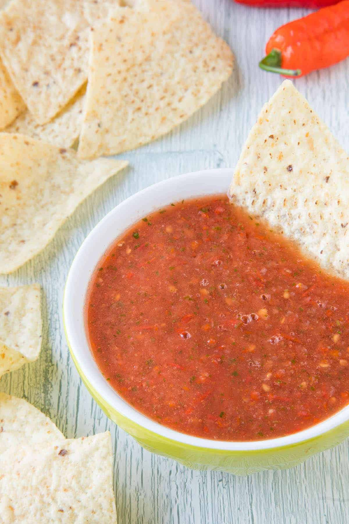 Ghost Pepper Salsa - In a bowl with chips
