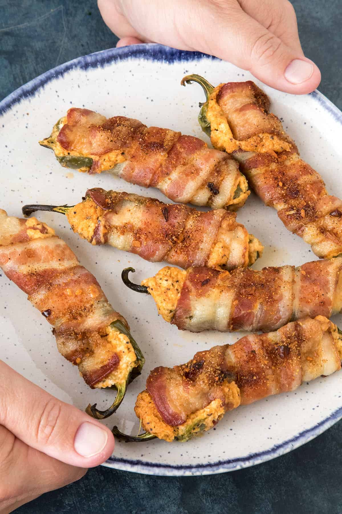 Bacon Wrapped Jalapeno Poppers - Closeup on a Plate