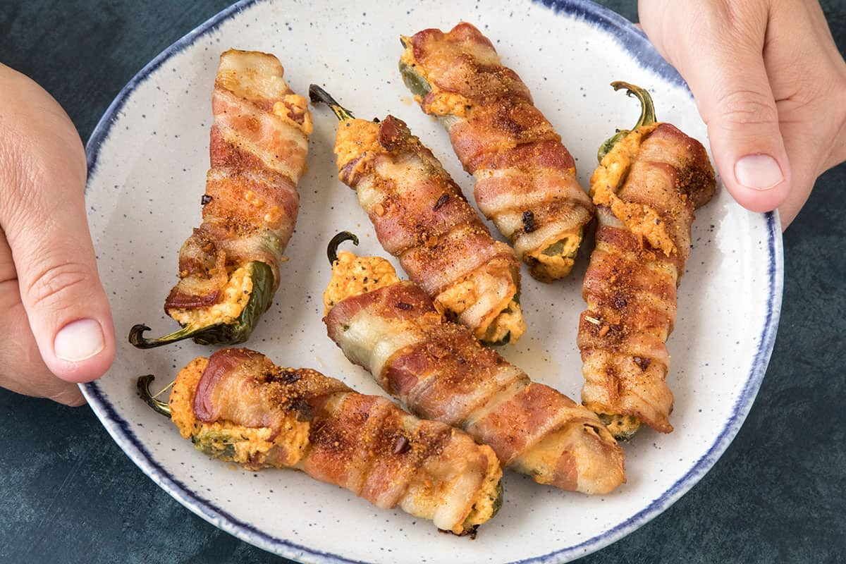 Bacon Wrapped Jalapeno Poppers - On a plate