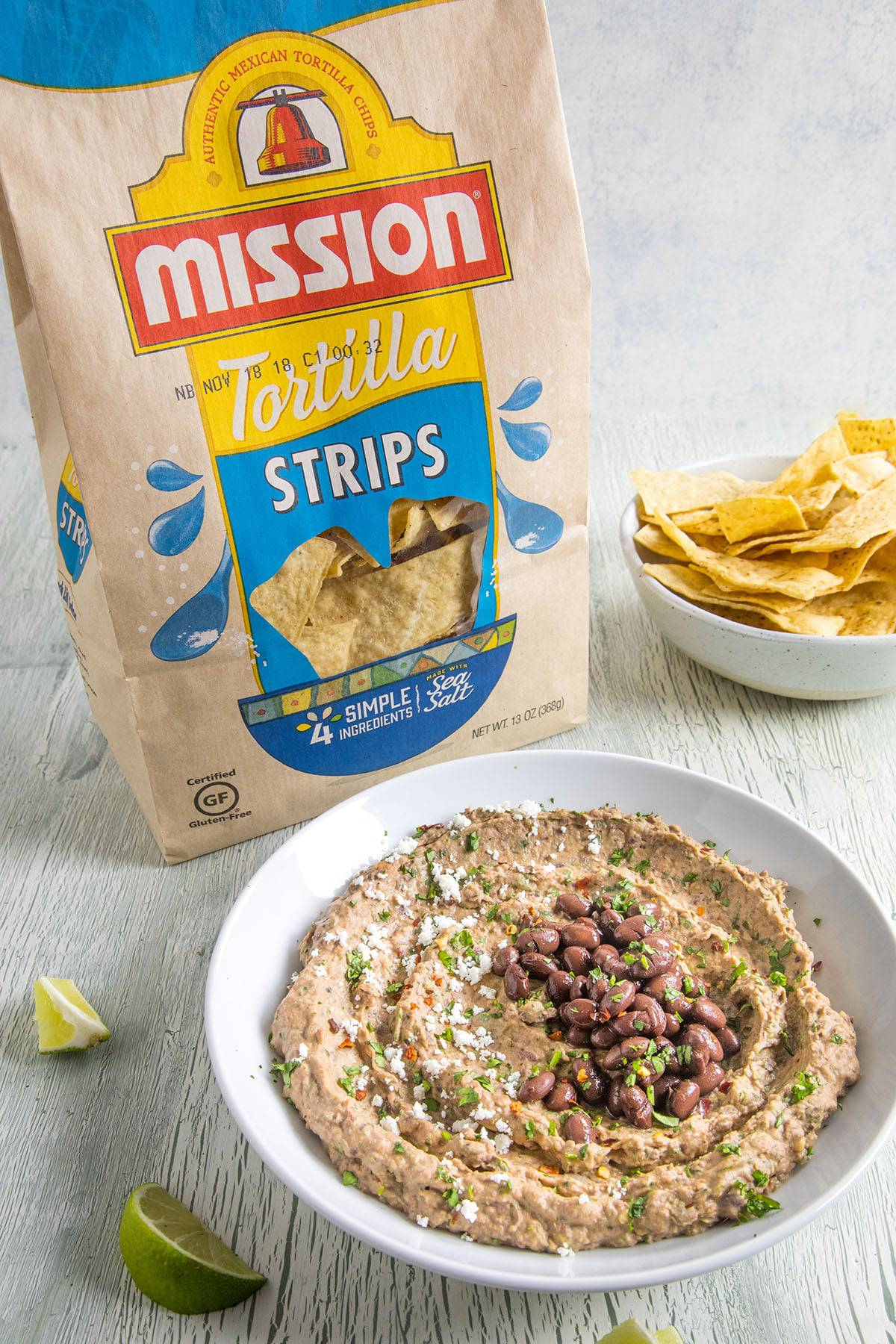 Black Bean Dip with tortilla chips, ready to serve