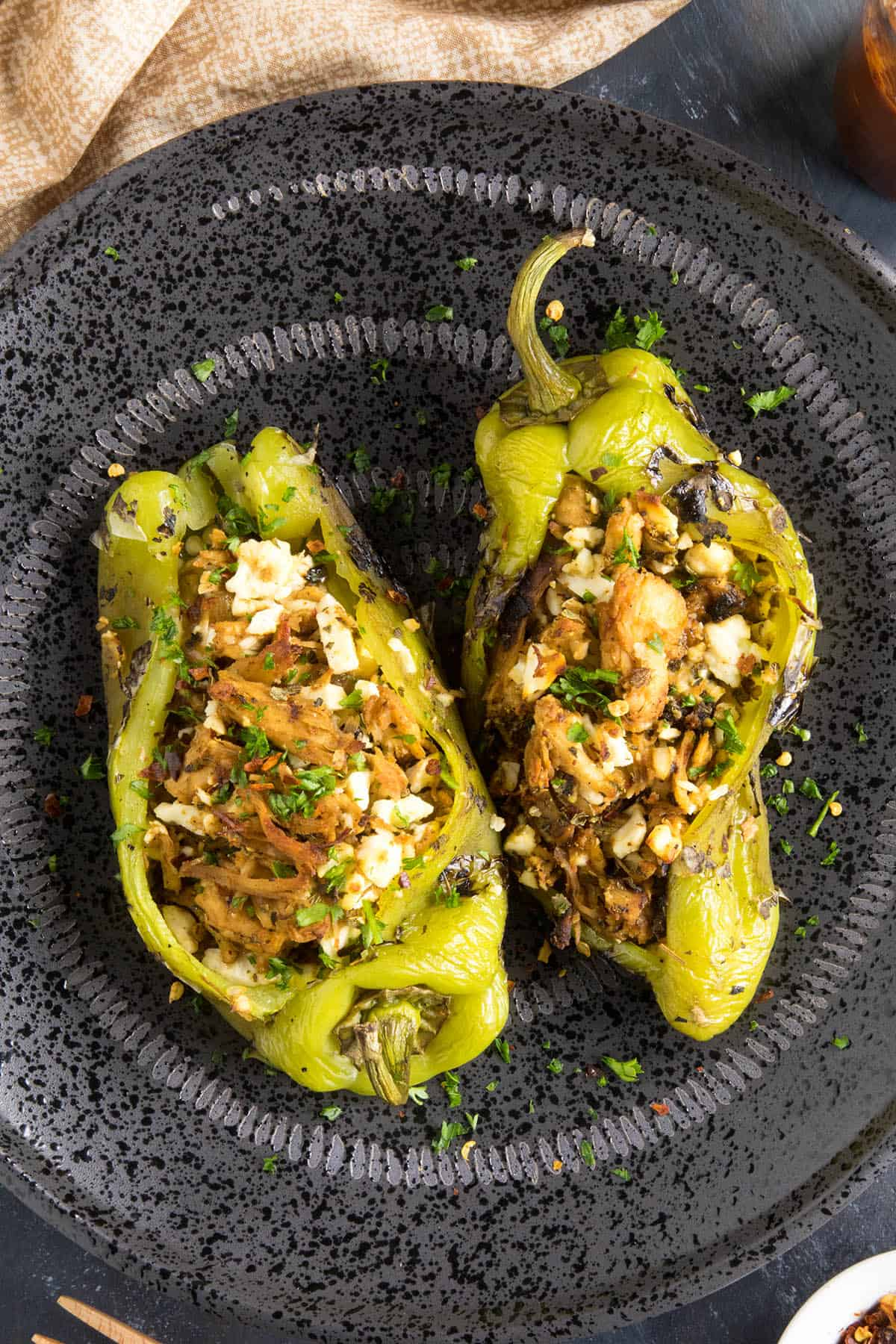 Chicken and Cheese Stuffed Anaheim Peppers - Ready to Eat