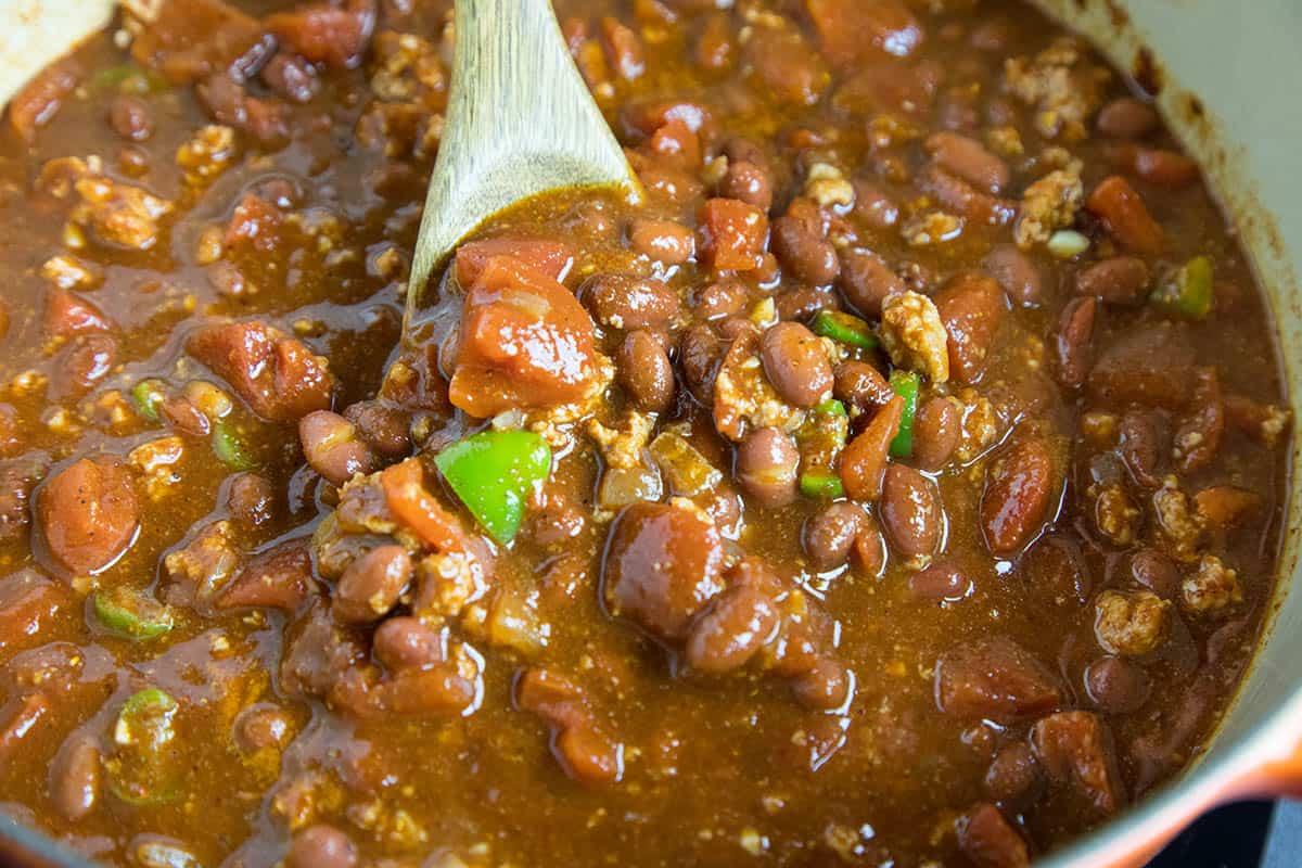 Stirring the chili