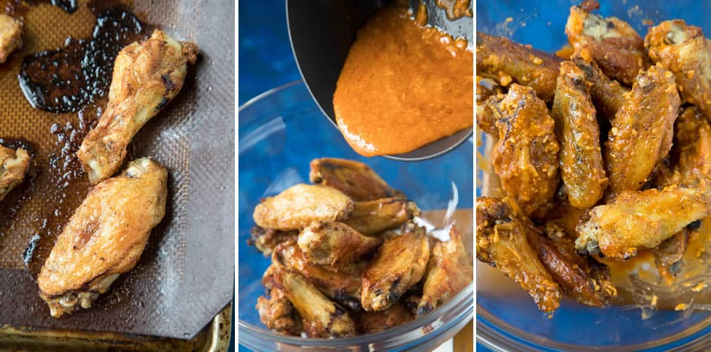 Steps for making and tossing our Garlic Parmesan Chicken Wings and tossing them in the wing sauce