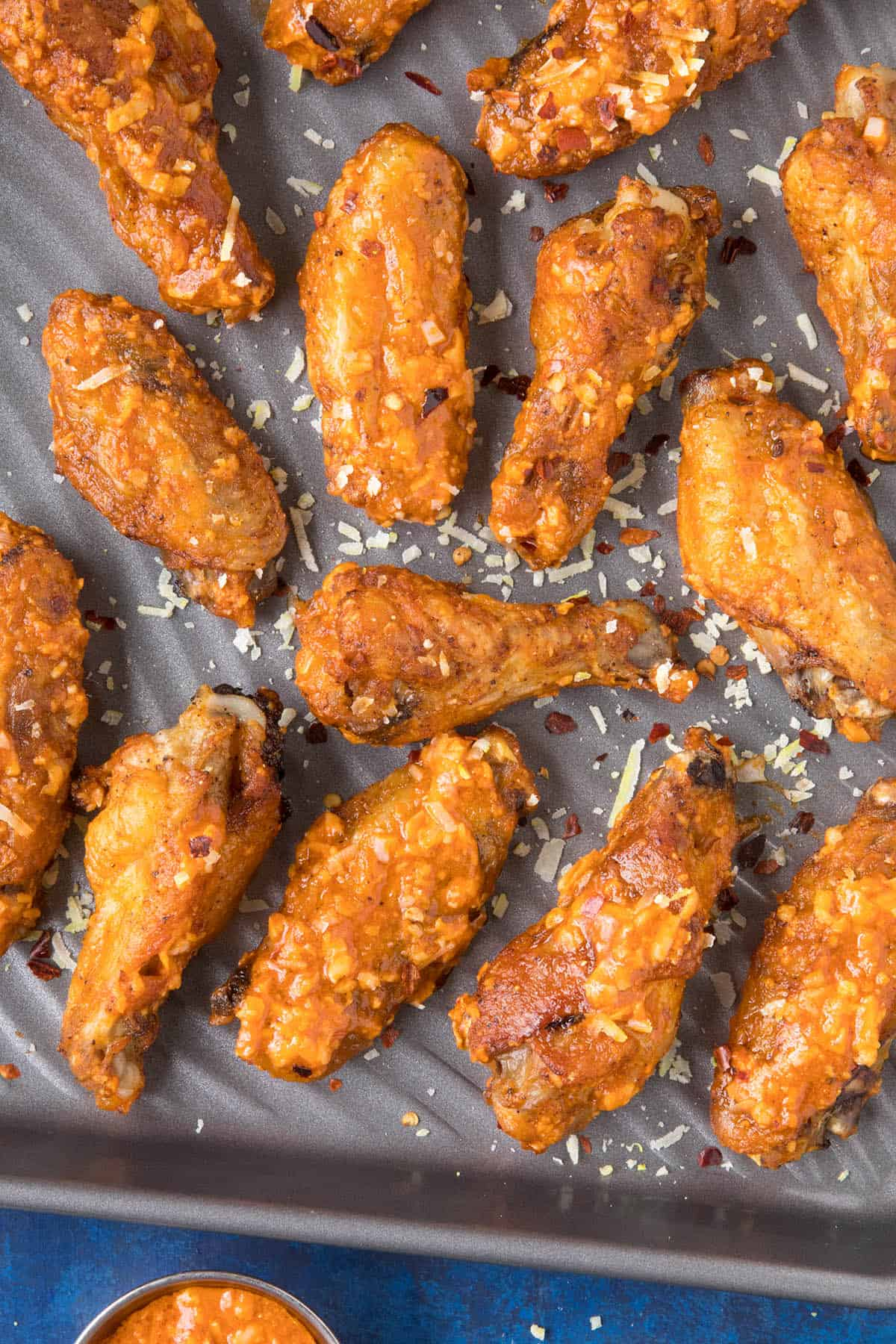 Garlic Parmesan Chicken Wings - In a pan, ready to serve