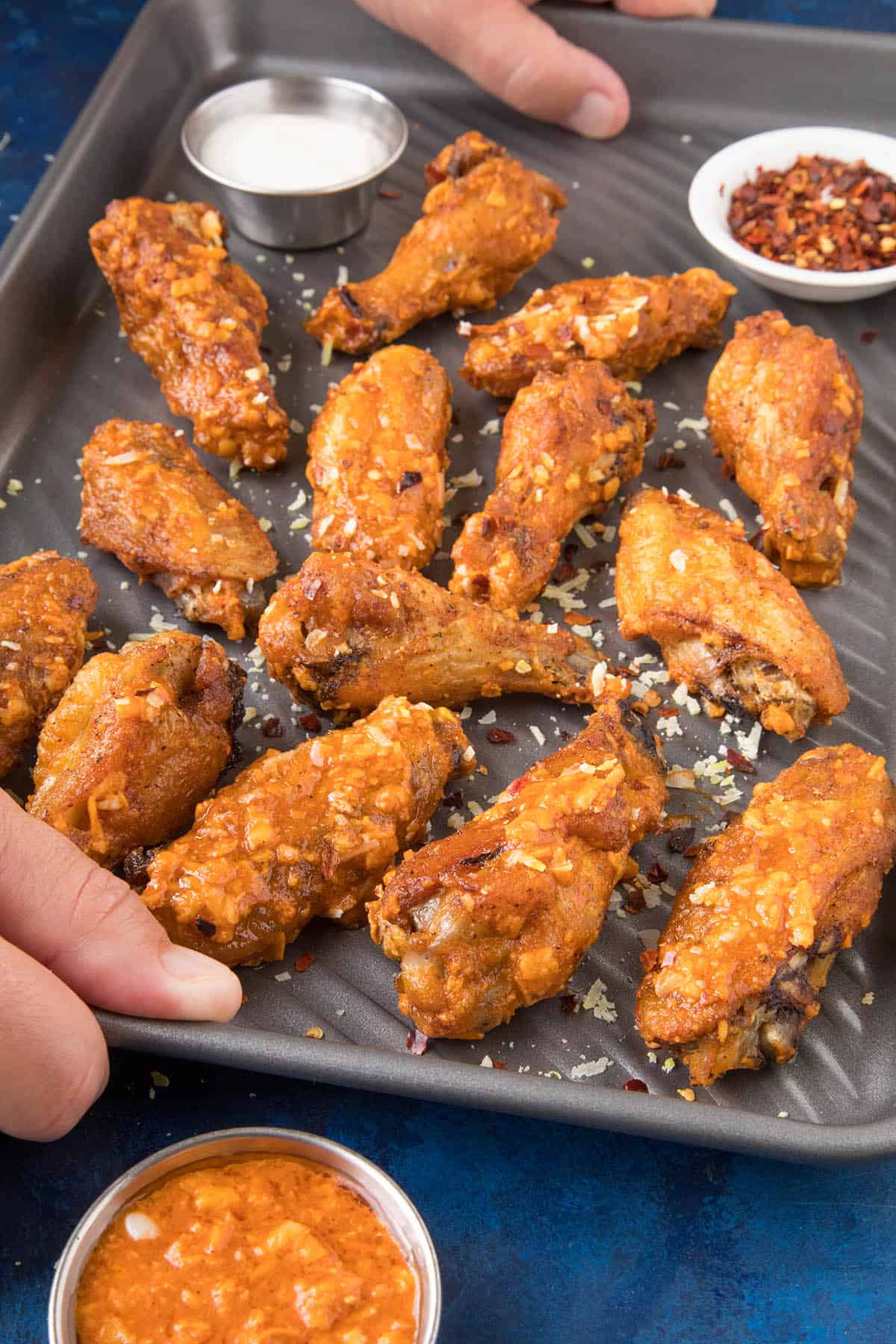 Serving up our Garlic Parmesan Chicken Wings