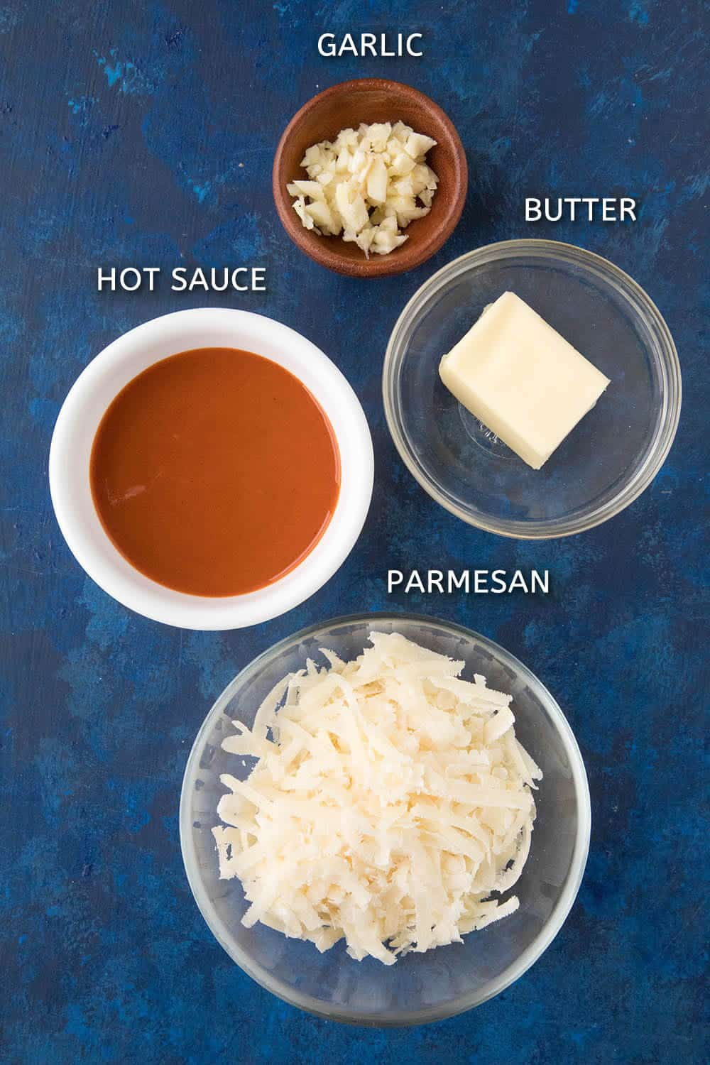 Ingredients for making our Garlic Parmesan Chicken Wings Sauce