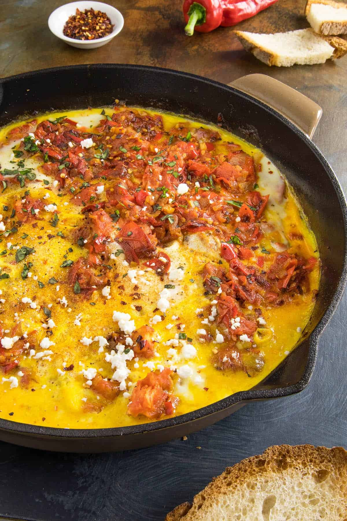Menemen, Turkish Style Scrambled Eggs with Peppers, in a pan, ready to serve