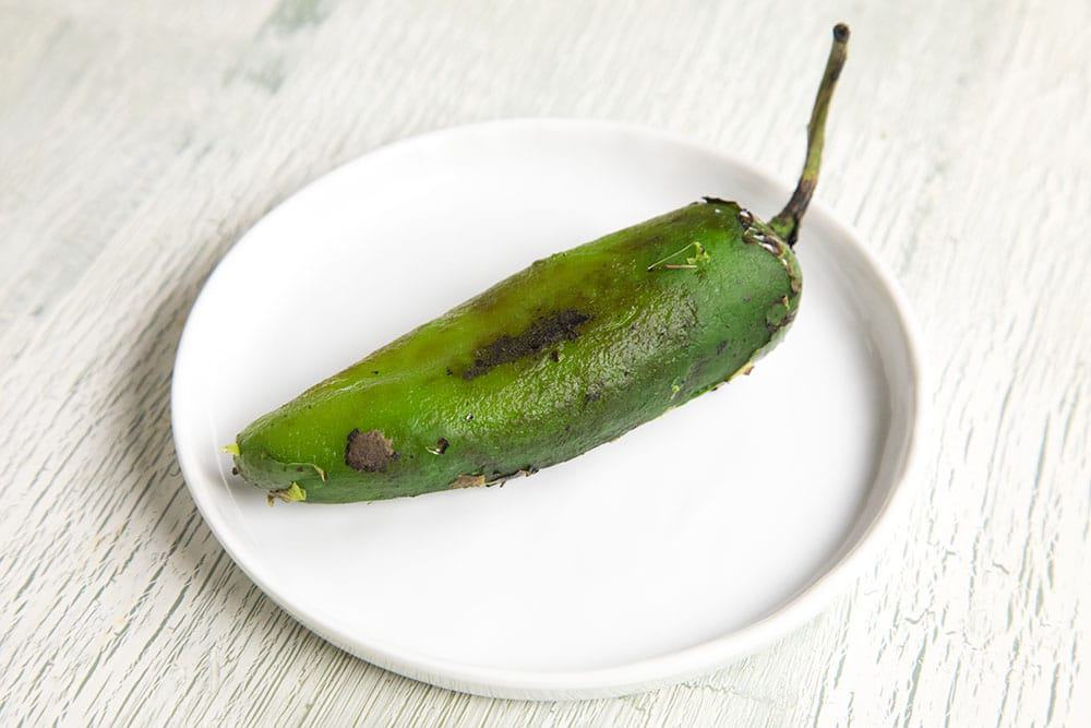 A roasted jalapeno pepper
