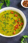 Roasted Poblano Soup in a bowl, ready to serve