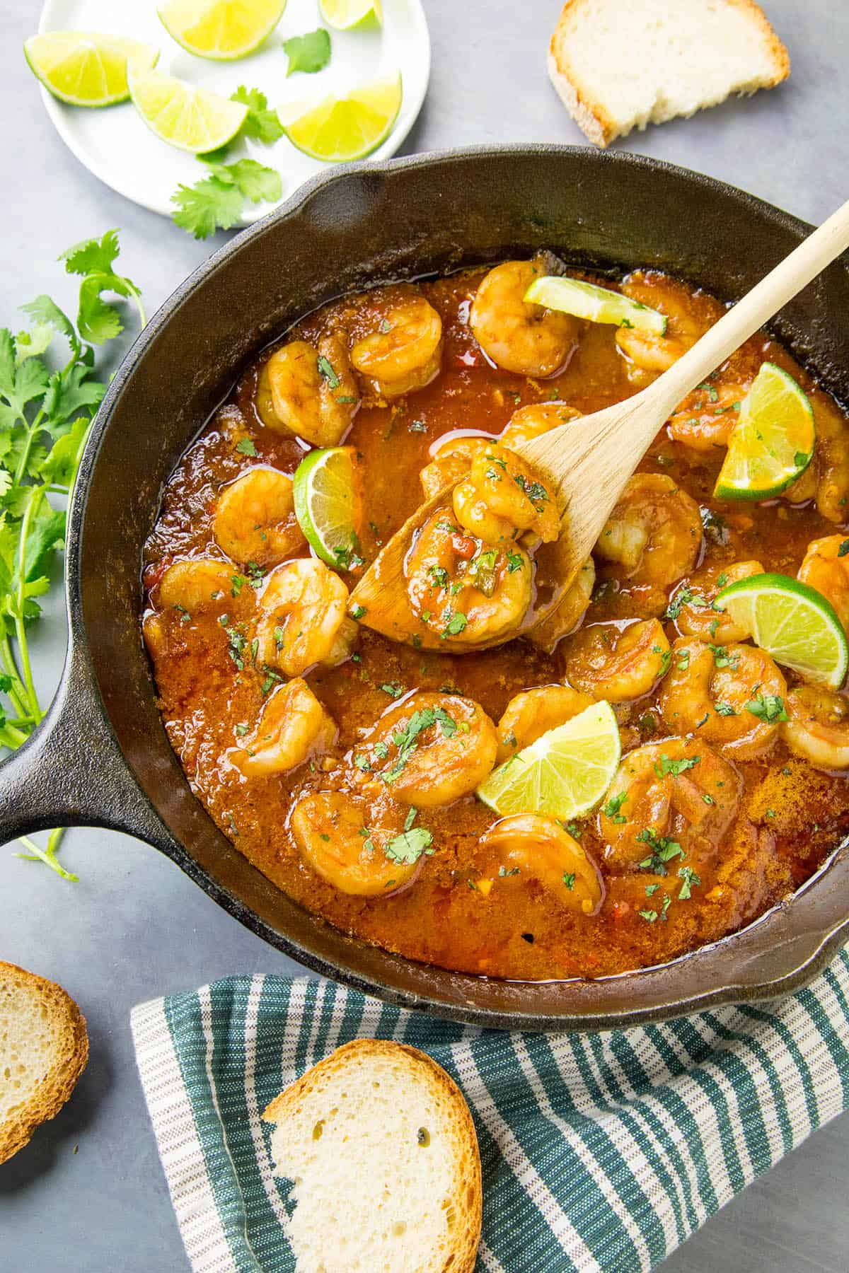 Shrimp in Fiery Chipotle-Tequila Sauce - In a pan, with a spoon for serving