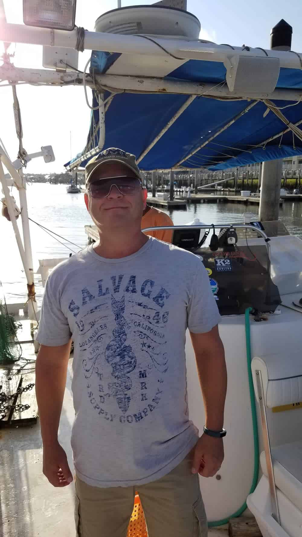 Mike Hultquist on the Shrimp Boat