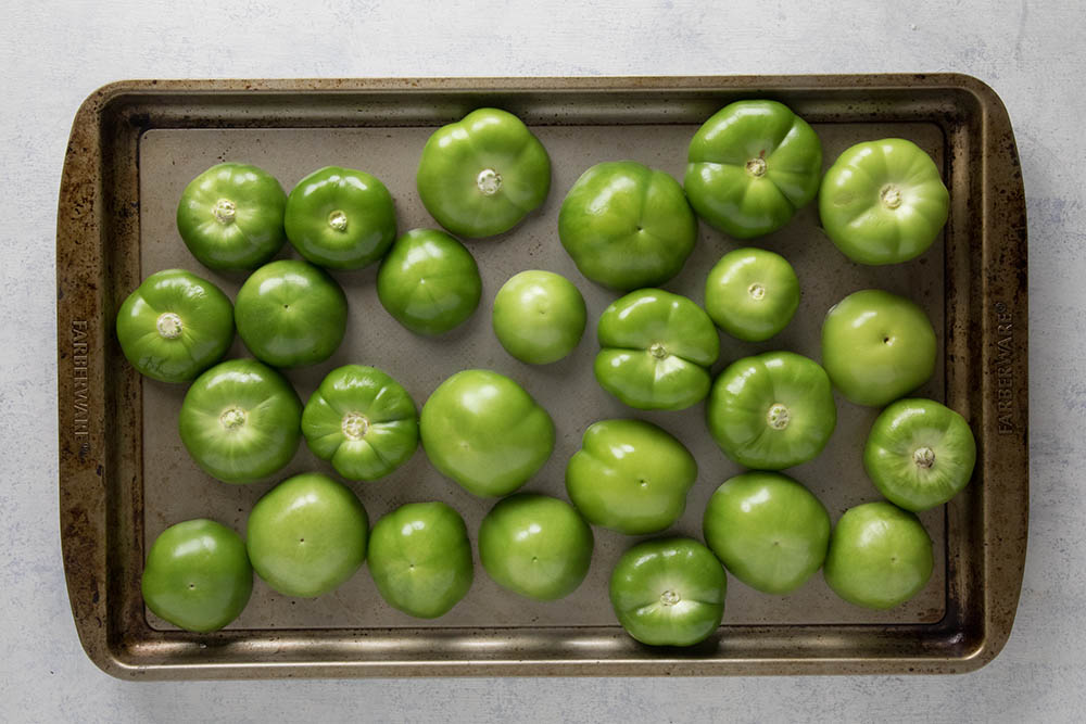 Tomatillos, sliced and ready to roast