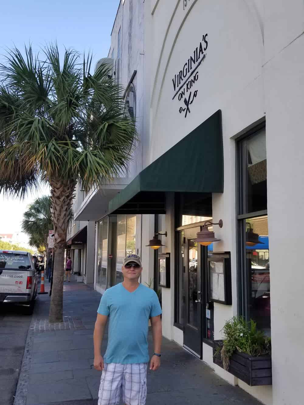 Mike standing by Virginia's on King in Charleston, South Carolina