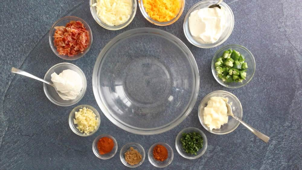Ingredients for our Bacon Jalapeno Popper Dip