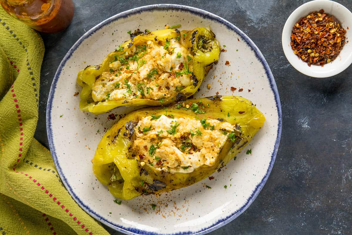 Cajun Cream Cheese Stuffed Anaheim Peppers - On a plate, ready to serve