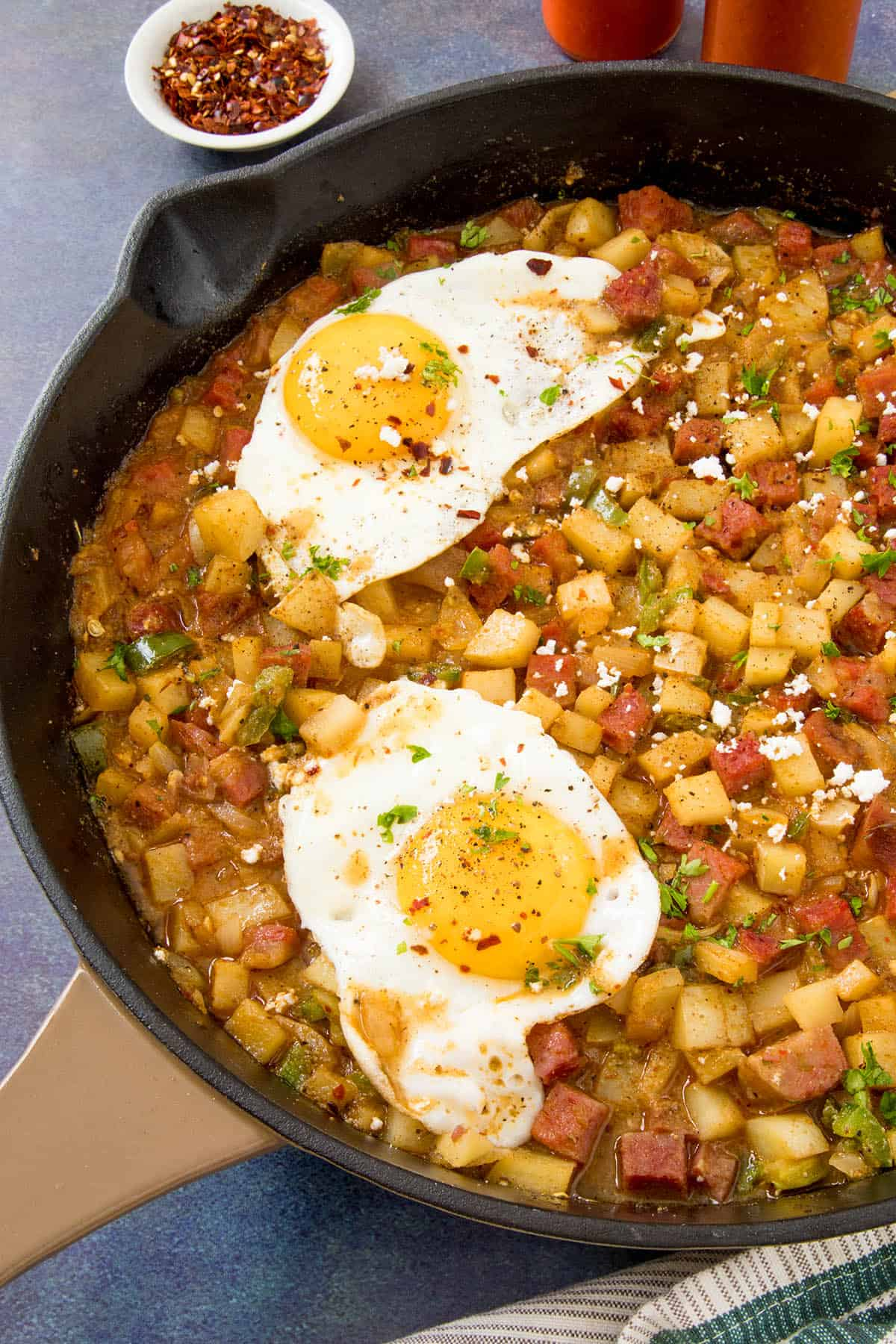 Corned Beef Hash Recipe – Madness Style, in a pan, ready to serve