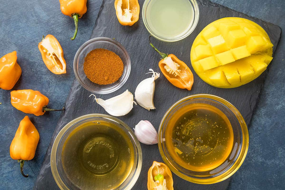 Ingredients for our mango-habanero sauce