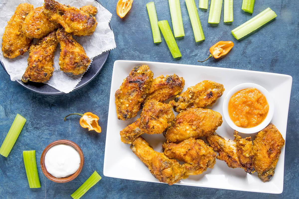 Mango Habanero Chicken Wings - plated and ready to eat