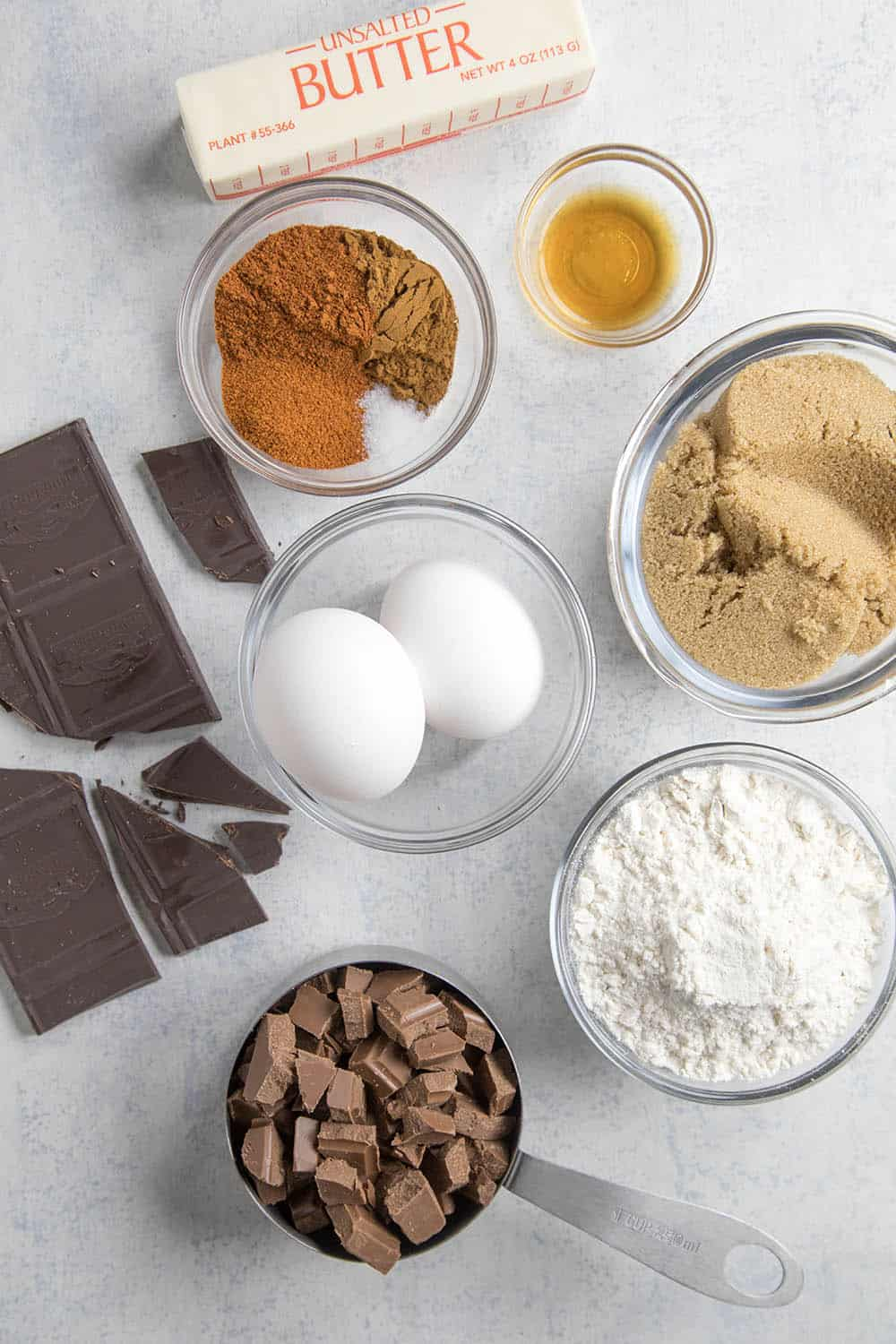 Ingredients for our Mexican Brownies