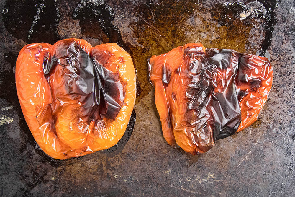 Roasted red peppers for our Muhammara Dip