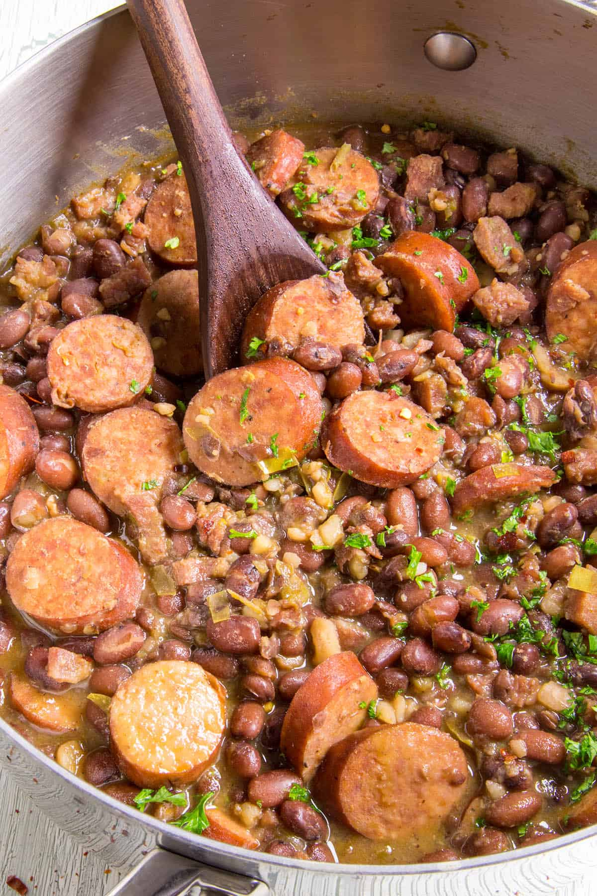 Red Beans and Rice - in a pot with a serving spoon