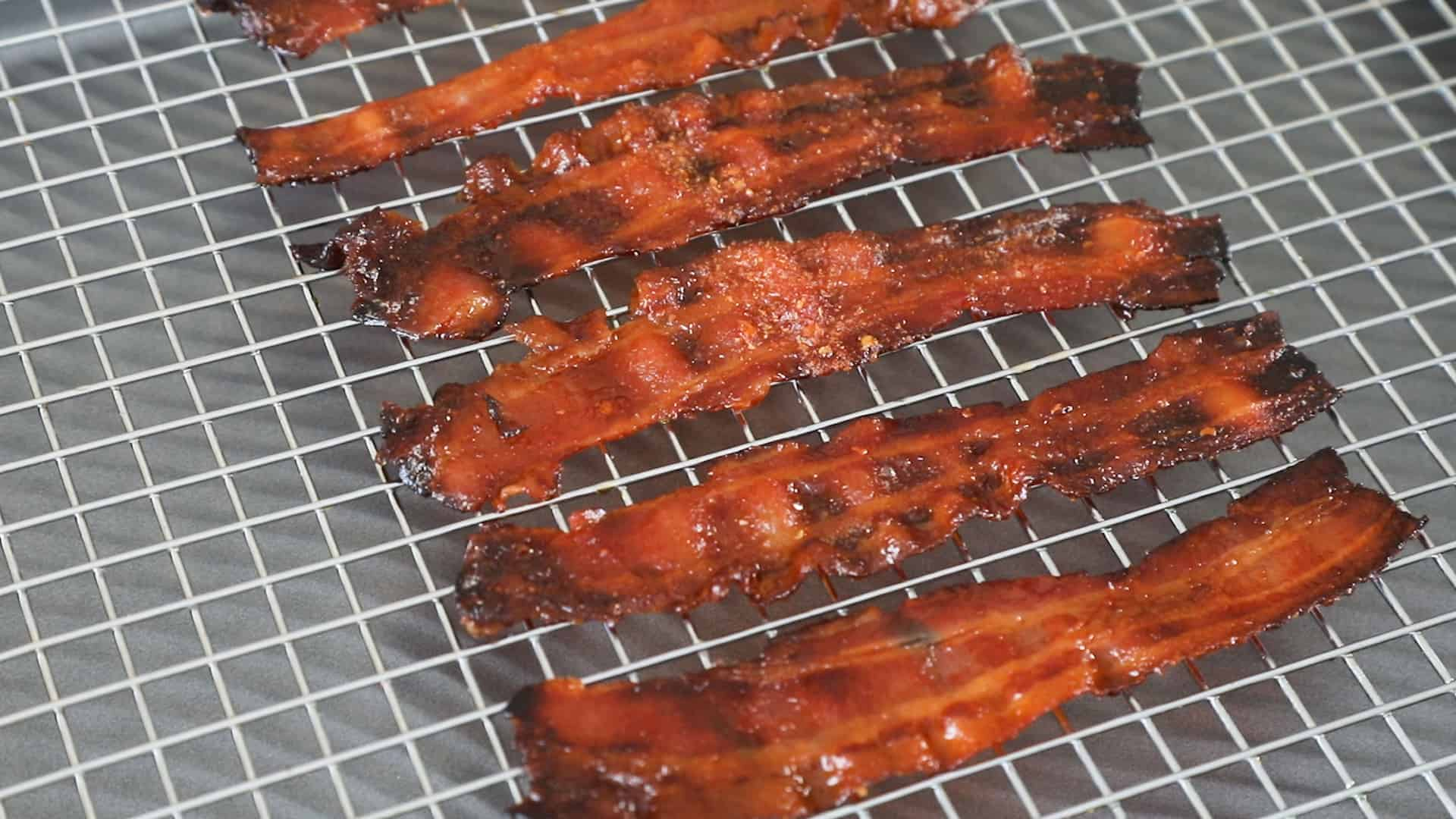 Ghost Pepper Candied Bacon - On a cooling rack