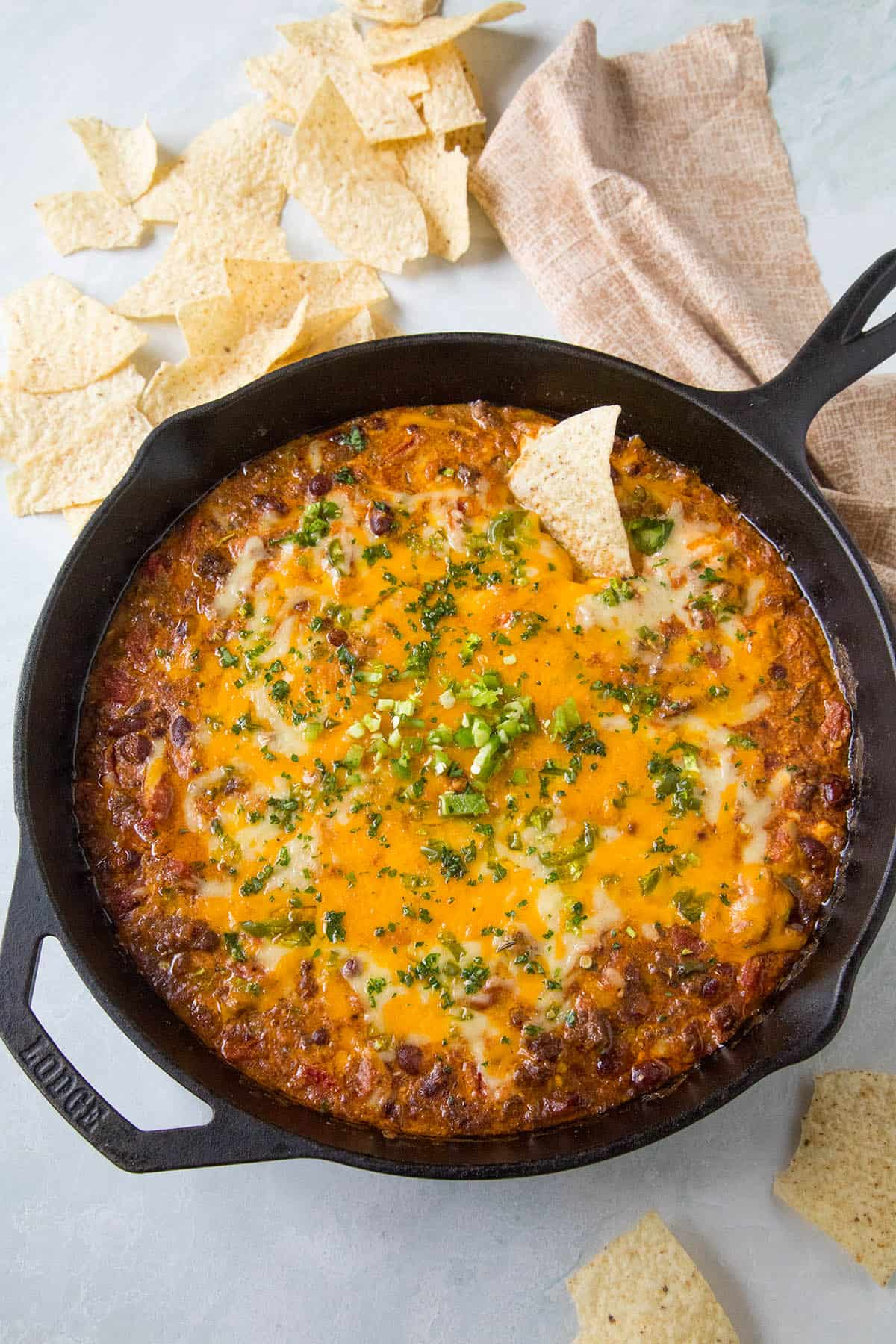 Chili Cheese Dip in a pan, ready to eat