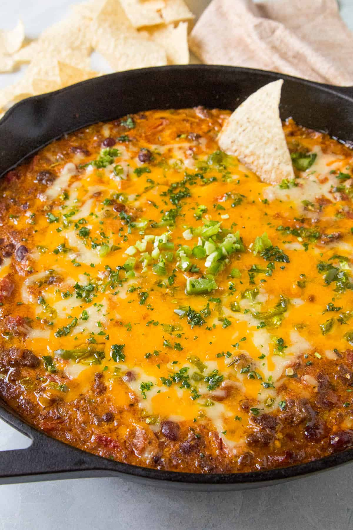 Chili Cheese Dip in a pan, ready to serve