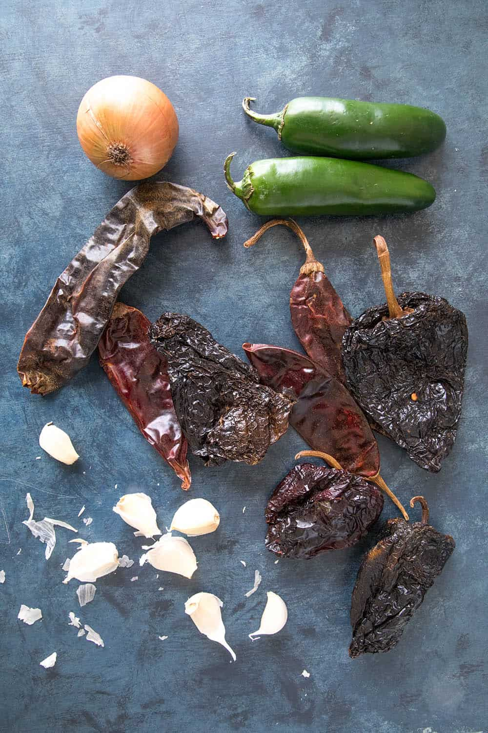 Dried peppers, jalapenos, onion and garlic, essential for making Chili Con Carne