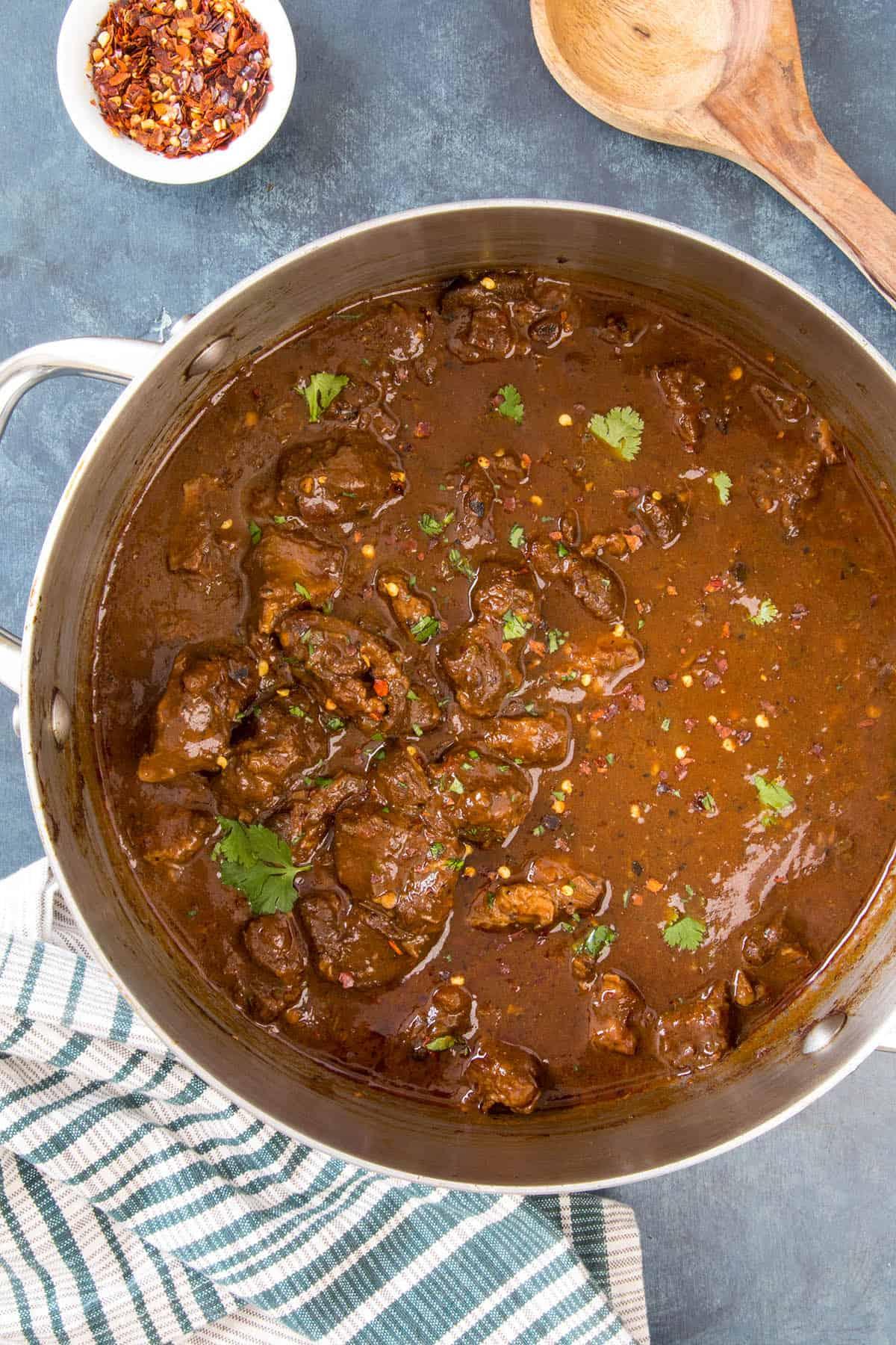 Chili Con Carne in a pot, ready to serve