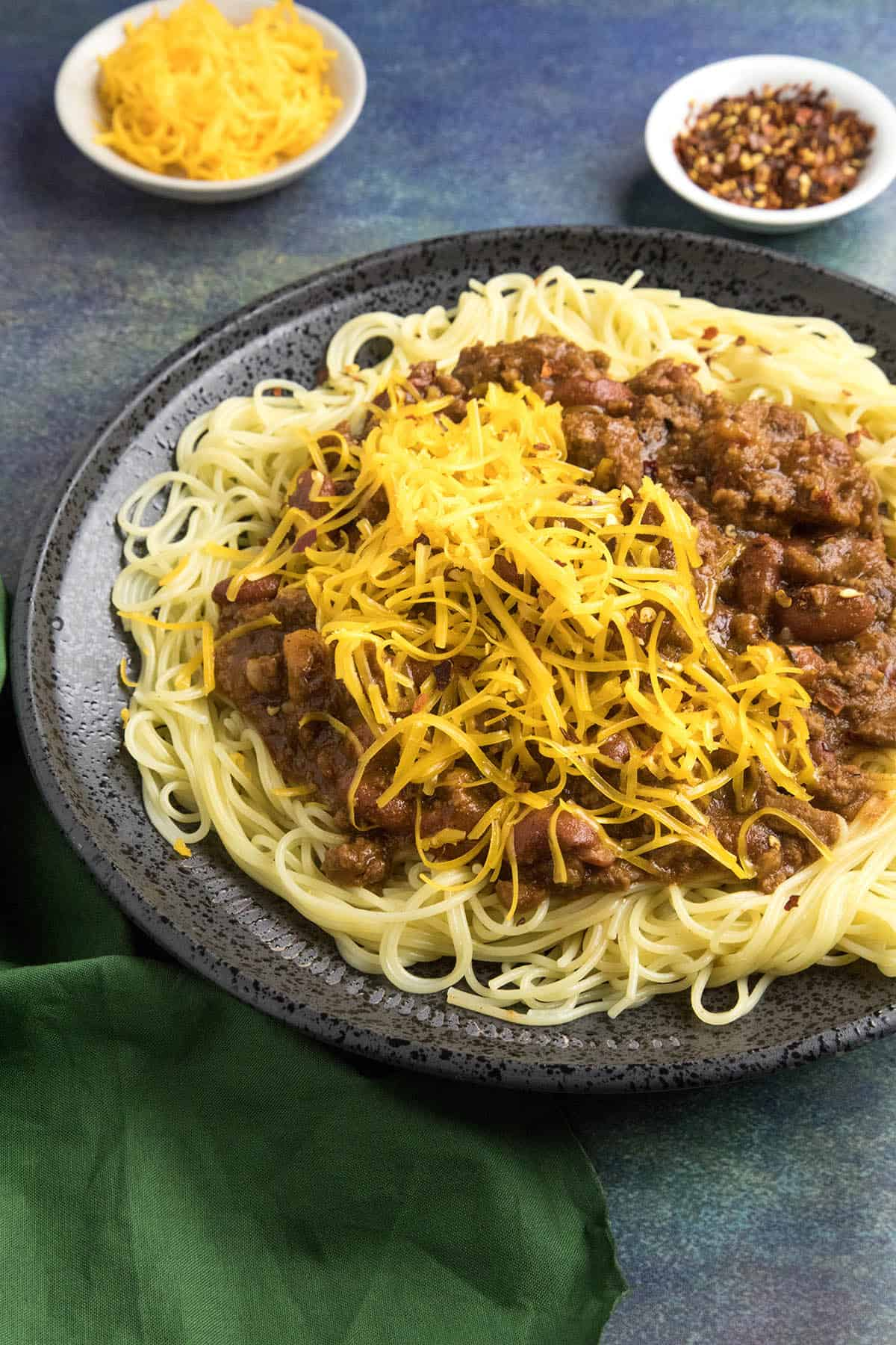 Cincinnati Chili on a plate, ready to eat