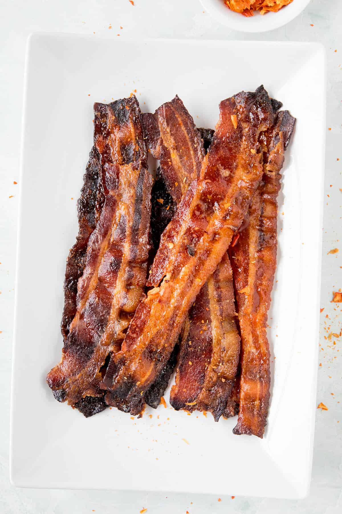 Ghost Pepper Candied Bacon - On a plate