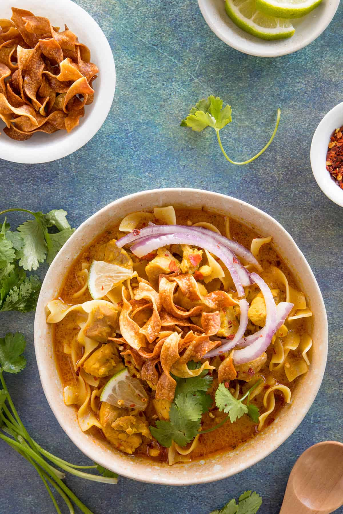 Khao Soi - Thai Coconut Curry, in a bowl, ready to serve