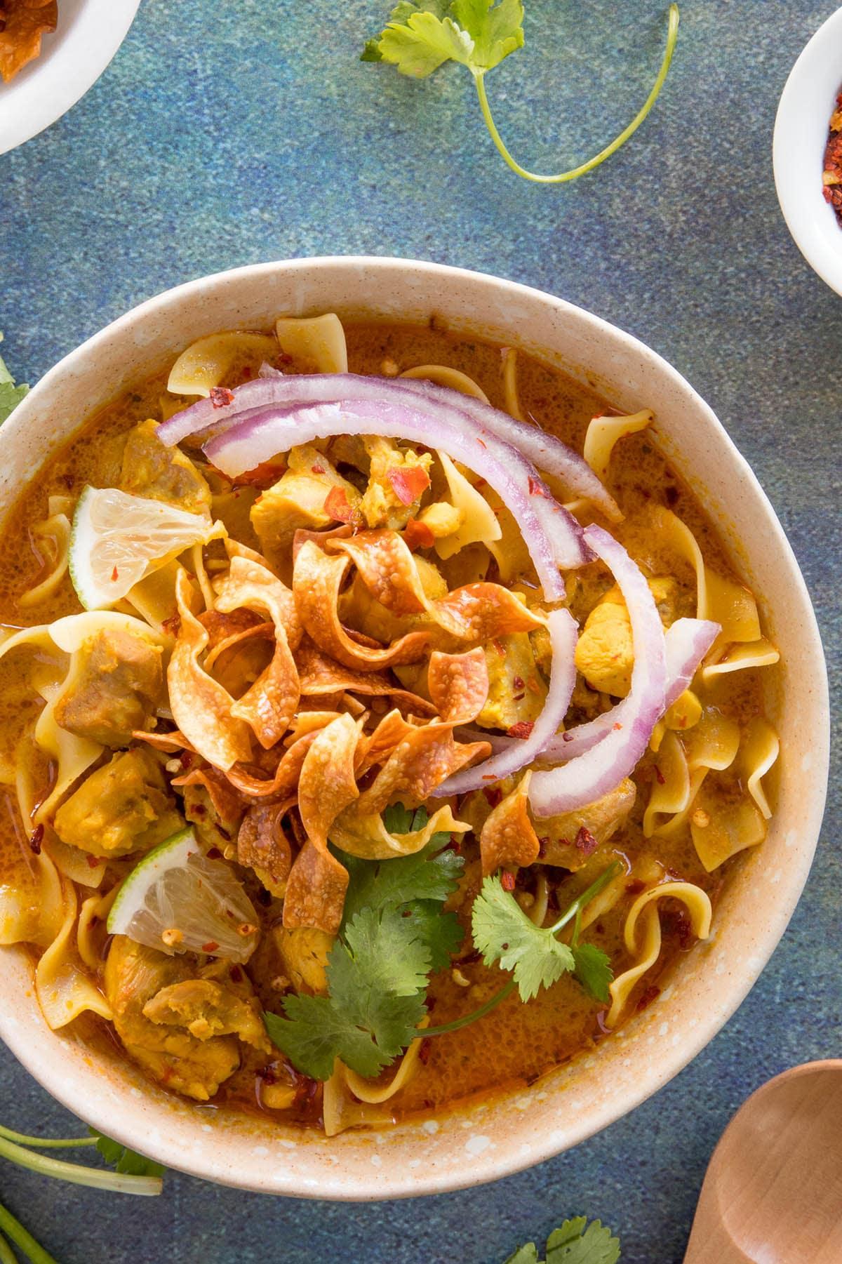 Khao Soi - Thai Coconut Curry, in a bowl